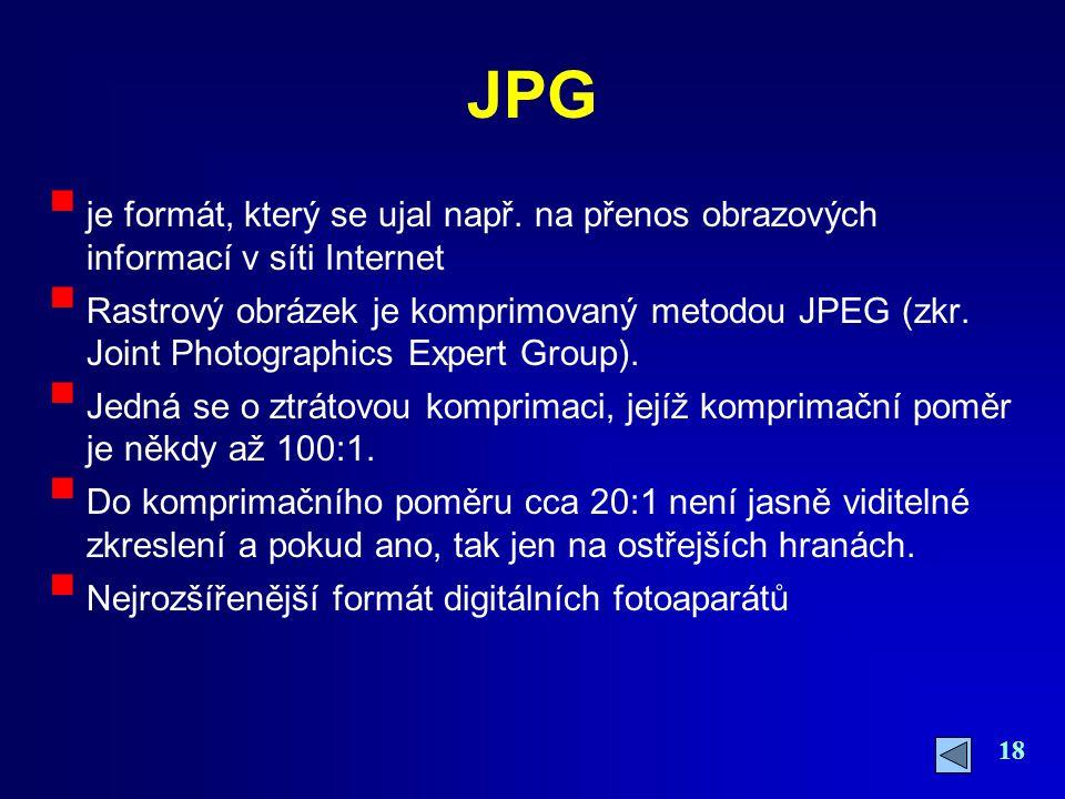 JPG je formát, který se ujal např. na přenos obrazových informací v síti Internet.