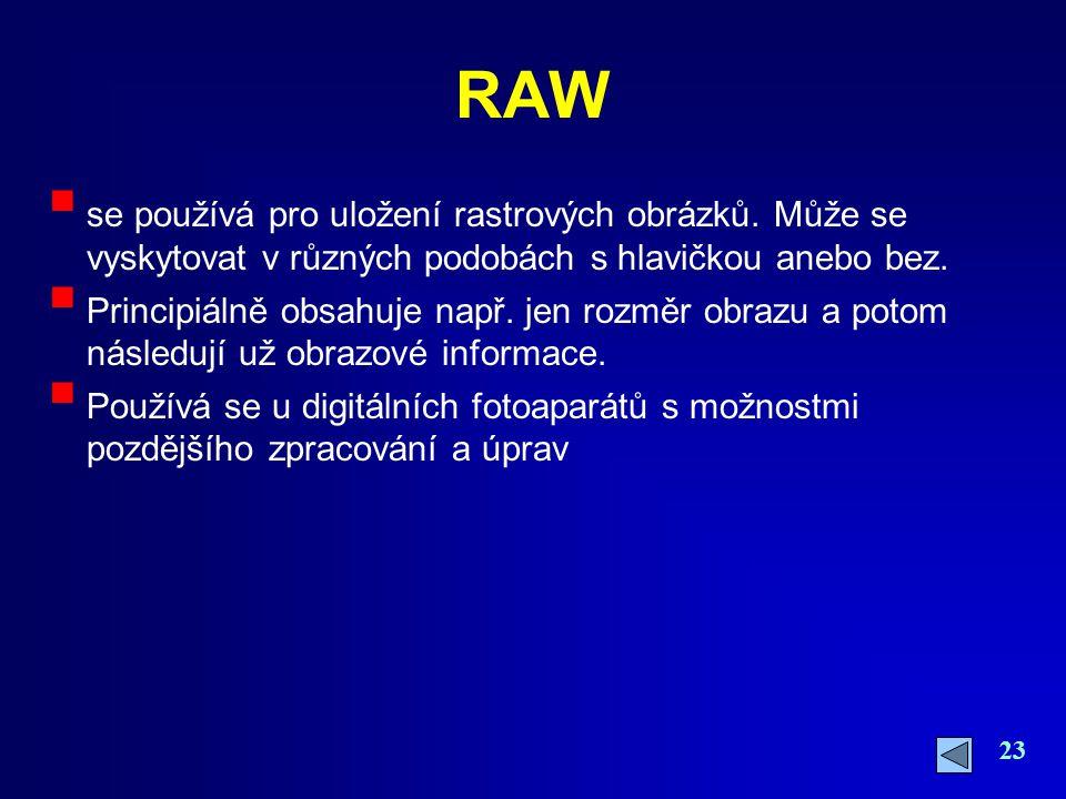 RAW se používá pro uložení rastrových obrázků. Může se vyskytovat v různých podobách s hlavičkou anebo bez.