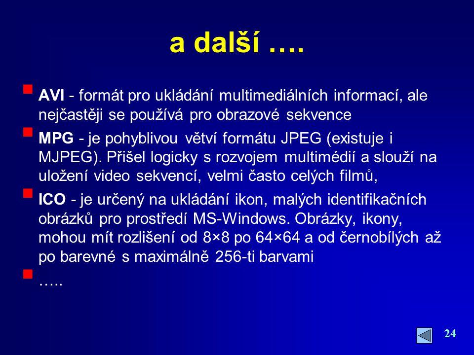 a další …. AVI - formát pro ukládání multimediálních informací, ale nejčastěji se používá pro obrazové sekvence.