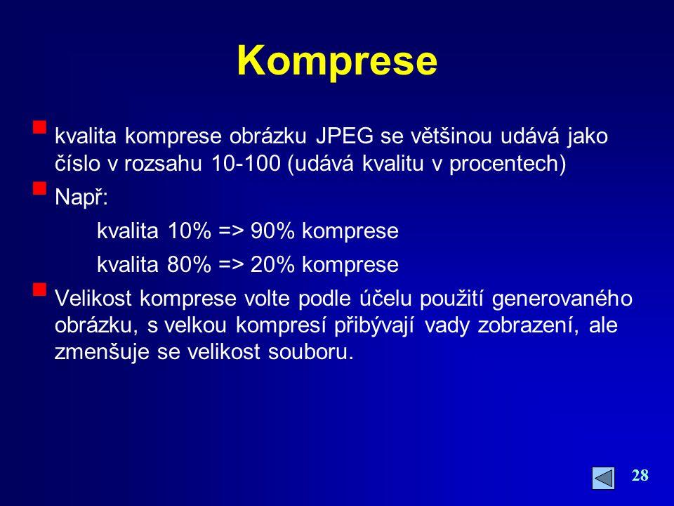 Komprese kvalita komprese obrázku JPEG se většinou udává jako číslo v rozsahu 10-100 (udává kvalitu v procentech)