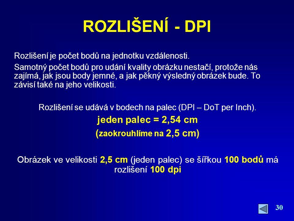 Rozlišení se udává v bodech na palec (DPI – DoT per Inch).