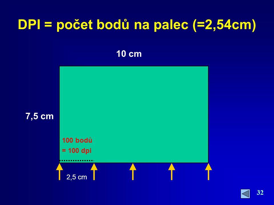 DPI = počet bodů na palec (=2,54cm)