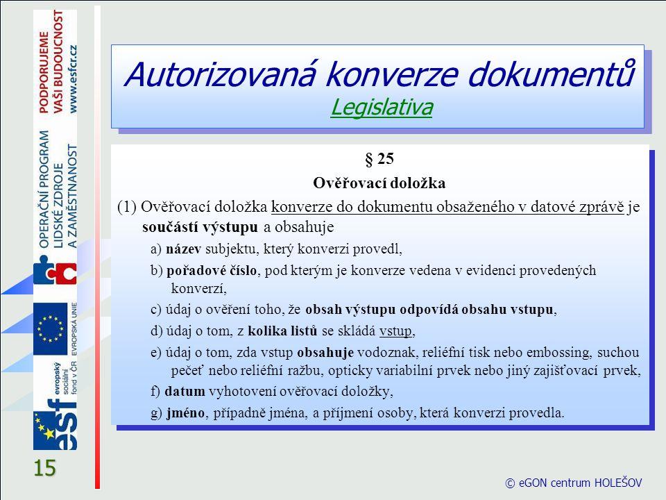 Autorizovaná konverze dokumentů Legislativa