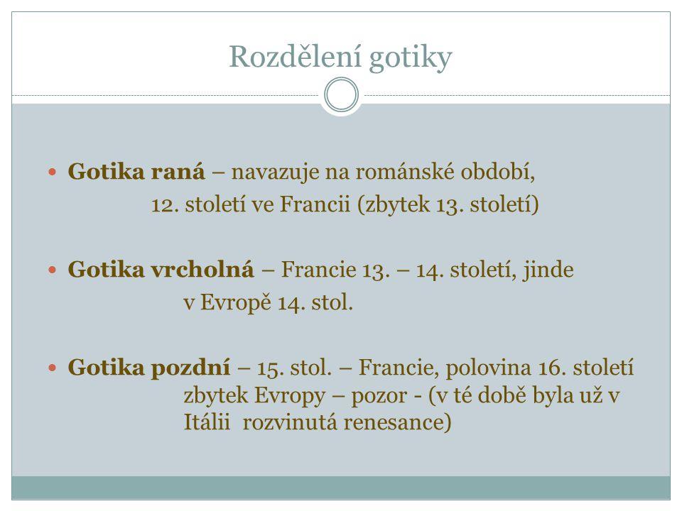 Rozdělení gotiky Gotika raná – navazuje na románské období,