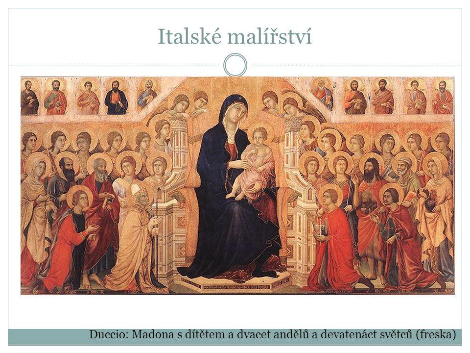 Italské malířství Duccio: Madona s dítětem a dvacet andělů a devatenáct světců (freska)
