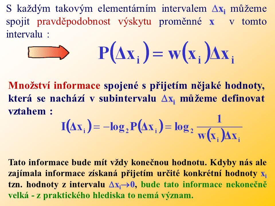 S každým takovým elementárním intervalem ∆xi můžeme spojit pravděpodobnost výskytu proměnné x v tomto intervalu :