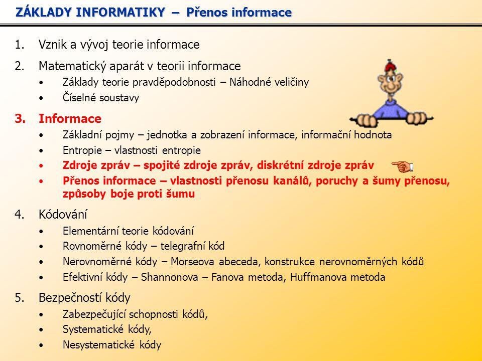 ZÁKLADY INFORMATIKY – Přenos informace