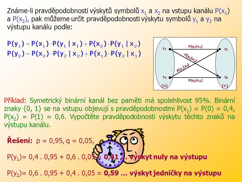 Známe-li pravděpodobnosti výskytů symbolů x1 a x2 na vstupu kanálu P(x1) a P(x2), pak můžeme určit pravděpodobnosti výskytu symbolů y1 a y2 na výstupu kanálu podle: