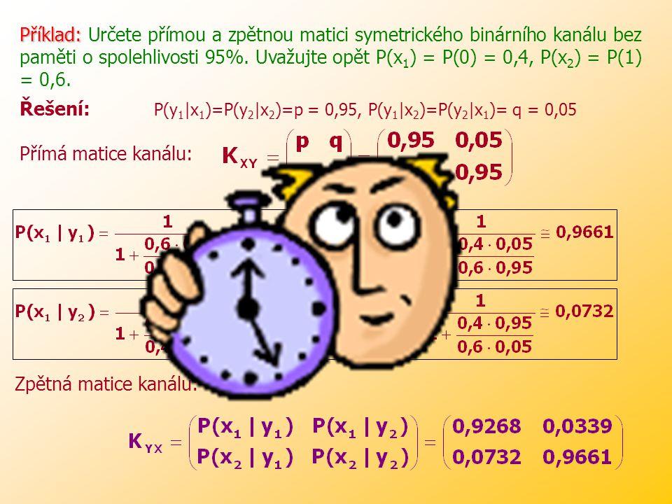 Příklad: Určete přímou a zpětnou matici symetrického binárního kanálu bez paměti o spolehlivosti 95%. Uvažujte opět P(x1) = P(0) = 0,4, P(x2) = P(1) = 0,6.