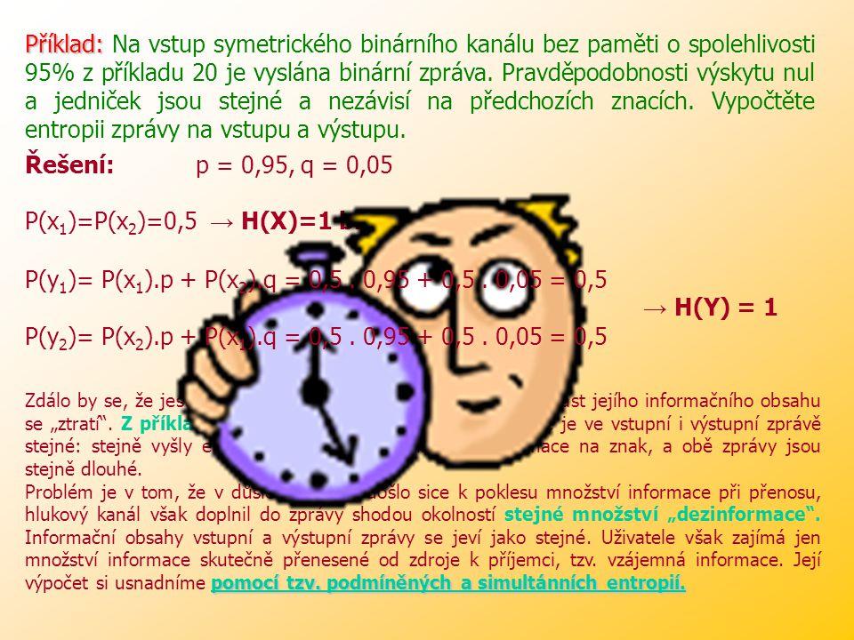 Příklad: Na vstup symetrického binárního kanálu bez paměti o spolehlivosti 95% z příkladu 20 je vyslána binární zpráva. Pravděpodobnosti výskytu nul a jedniček jsou stejné a nezávisí na předchozích znacích. Vypočtěte entropii zprávy na vstupu a výstupu.