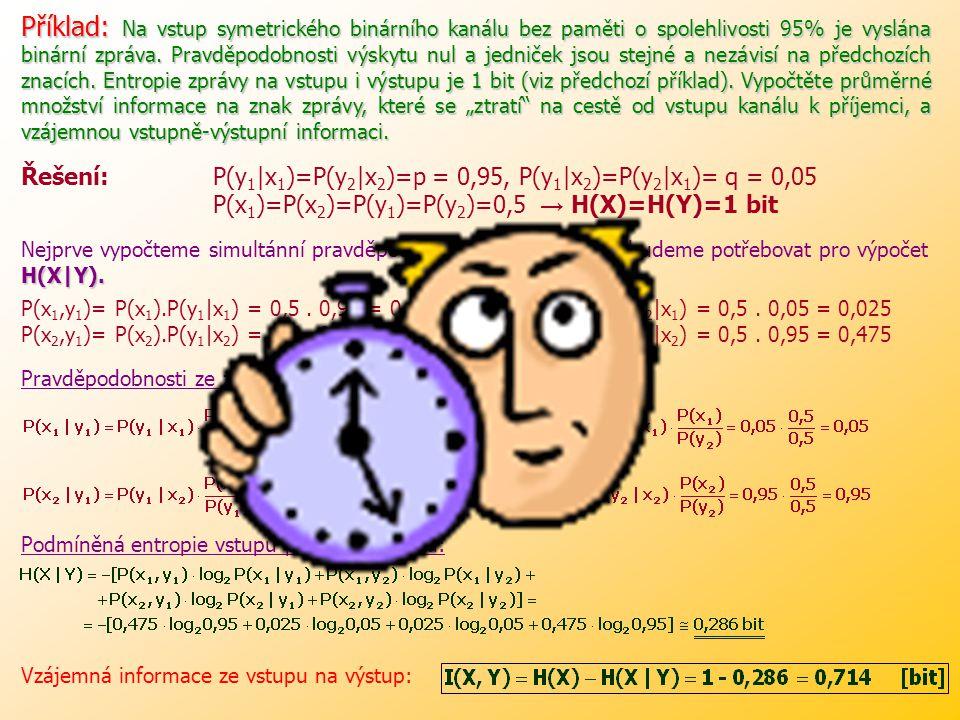 """Příklad: Na vstup symetrického binárního kanálu bez paměti o spolehlivosti 95% je vyslána binární zpráva. Pravděpodobnosti výskytu nul a jedniček jsou stejné a nezávisí na předchozích znacích. Entropie zprávy na vstupu i výstupu je 1 bit (viz předchozí příklad). Vypočtěte průměrné množství informace na znak zprávy, které se """"ztratí na cestě od vstupu kanálu k příjemci, a vzájemnou vstupně-výstupní informaci."""