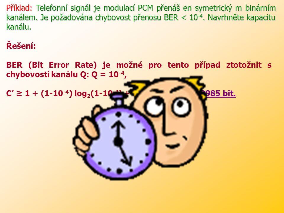 Příklad: Telefonní signál je modulací PCM přenáš en symetrický m binárním kanálem. Je požadována chybovost přenosu BER < 10-4. Navrhněte kapacitu kanálu.