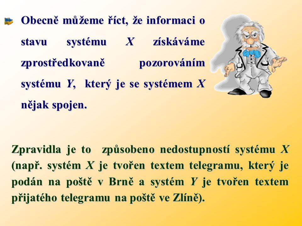 Obecně můžeme říct, že informaci o stavu systému X získáváme zprostředkovaně pozorováním systému Y, který je se systémem X nějak spojen.