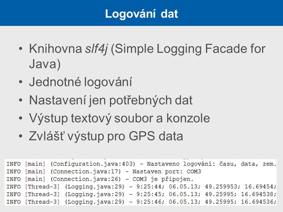 Knihovna slf4j (Simple Logging Facade for Java) Jednotné logování