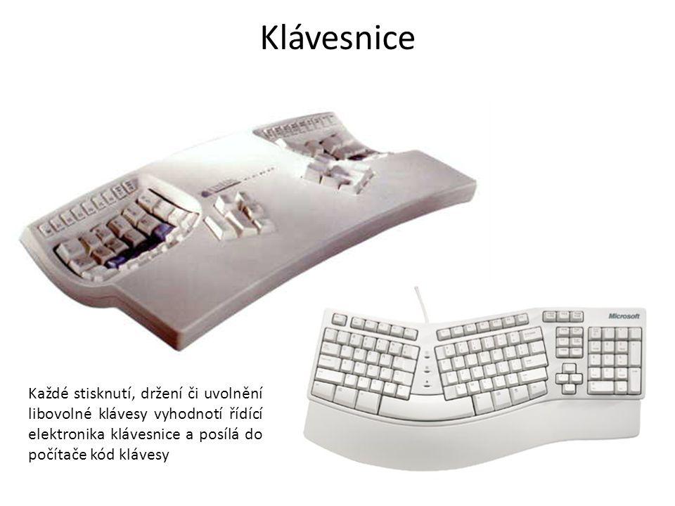 Klávesnice Každé stisknutí, držení či uvolnění libovolné klávesy vyhodnotí řídící elektronika klávesnice a posílá do počítače kód klávesy.