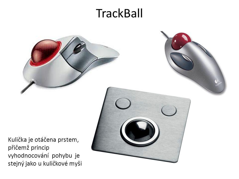TrackBall Kulička je otáčena prstem, přičemž princip vyhodnocování pohybu je stejný jako u kuličkové myši.