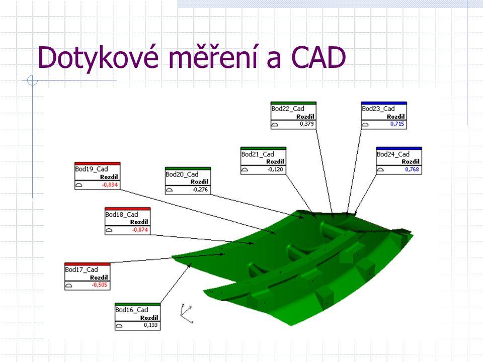 Dotykové měření a CAD Ukázka výstupního grafického protokolu součásti porovnané s CAD modelem