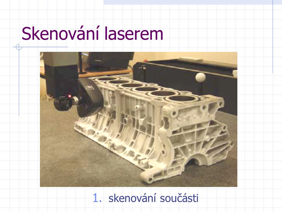 Skenování laserem skenování součásti
