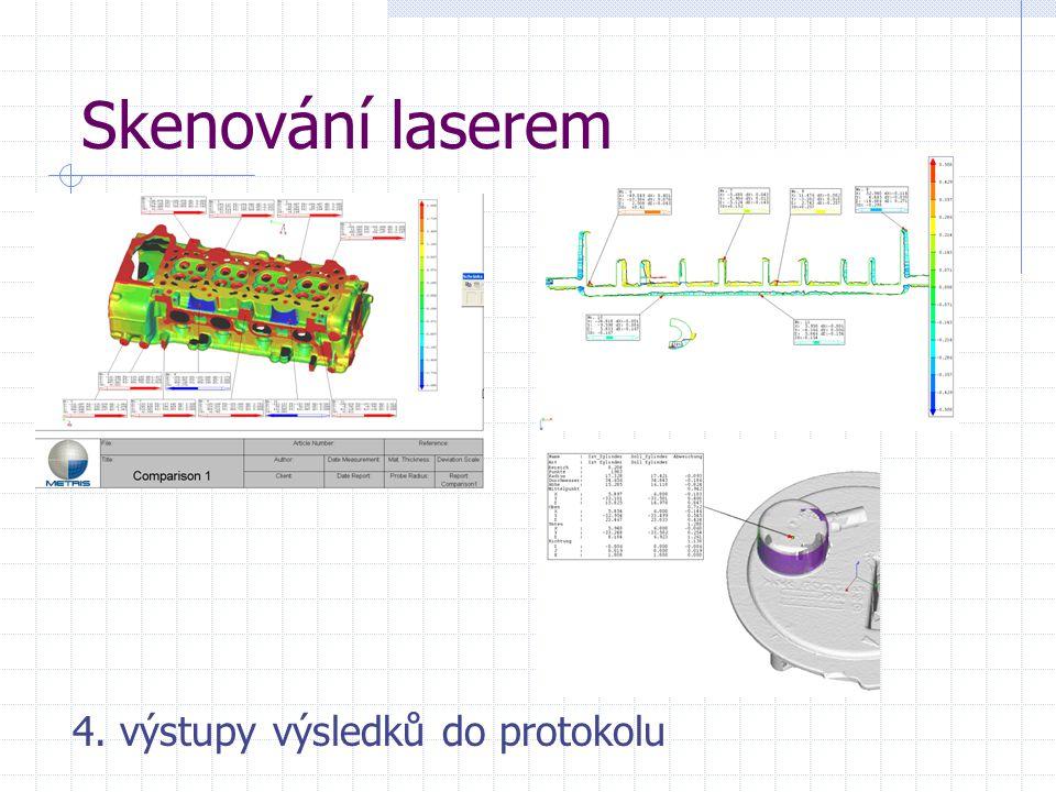 Skenování laserem 4. výstupy výsledků do protokolu