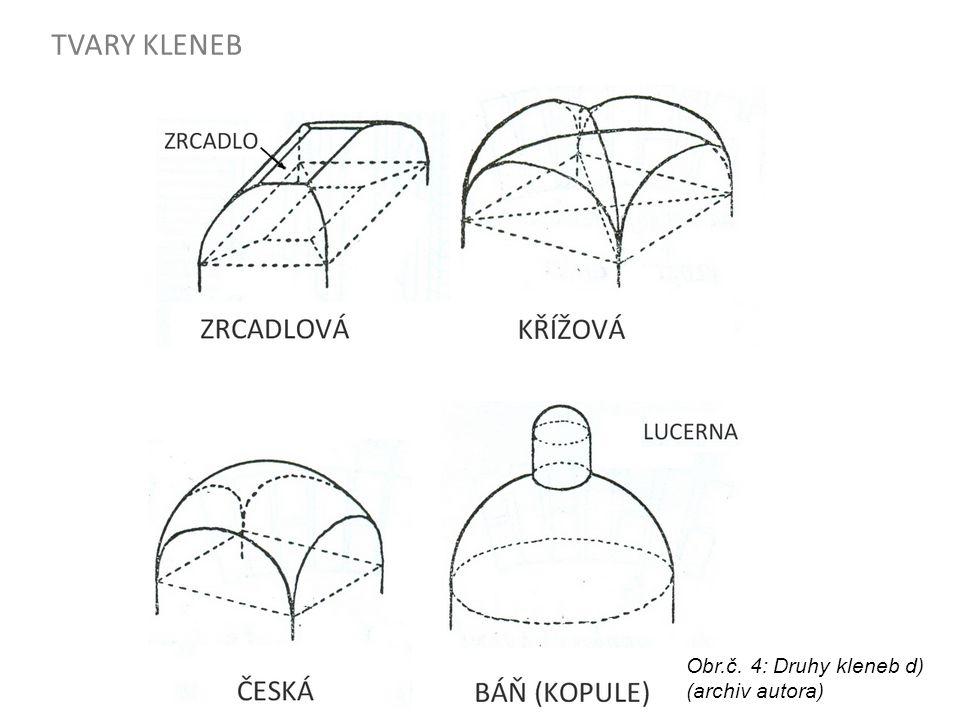 TVARY KLENEB Obr.č. 4: Druhy kleneb d) (archiv autora)