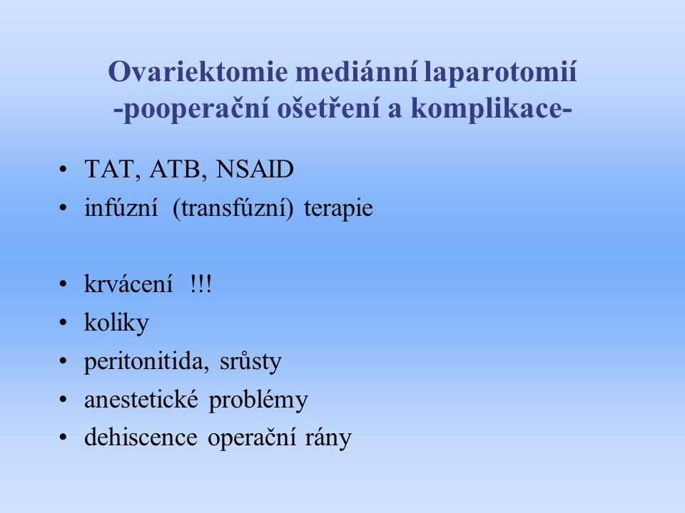 Ovariektomie mediánní laparotomií -pooperační ošetření a komplikace-