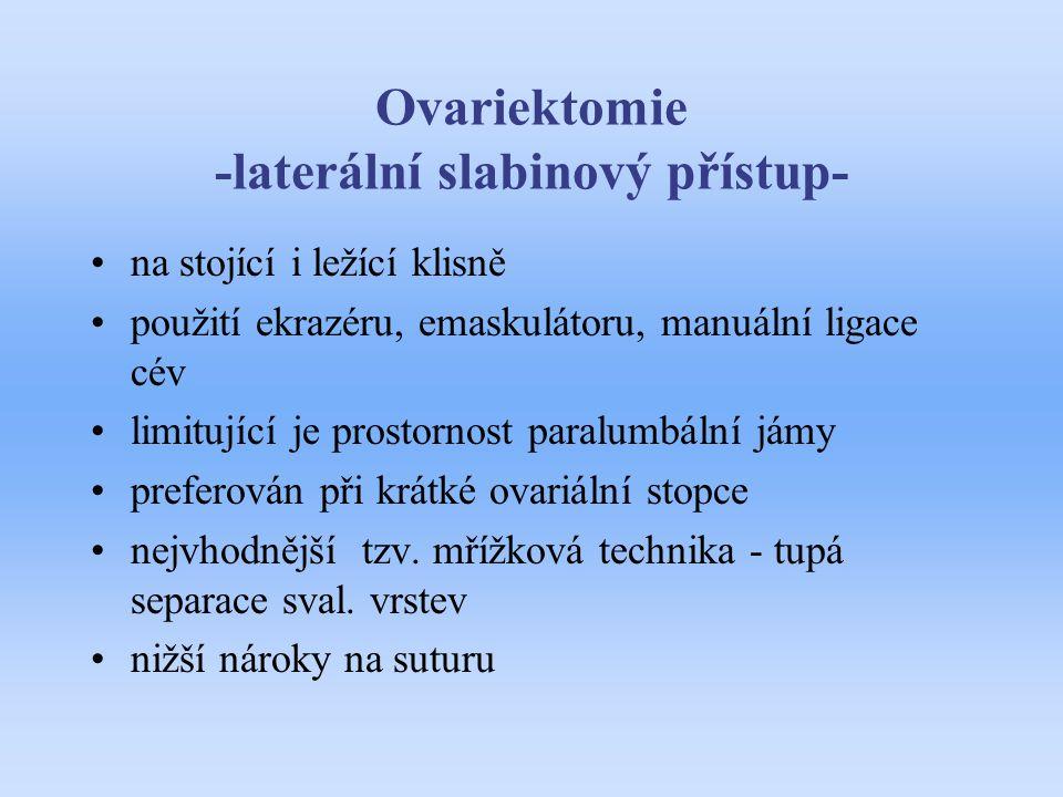 Ovariektomie -laterální slabinový přístup-