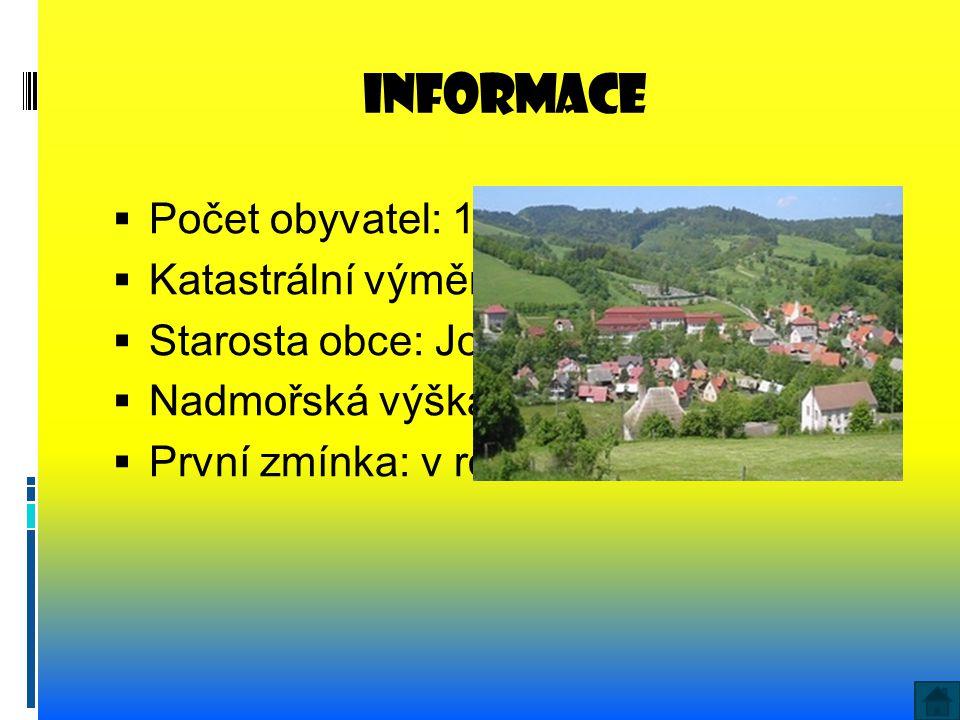 informace Počet obyvatel: 1367 Katastrální výměra: 1236 ha