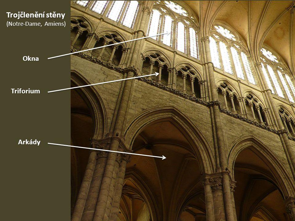 Trojčlenění stěny (Notre-Dame, Amiens) Okna Triforium Arkády
