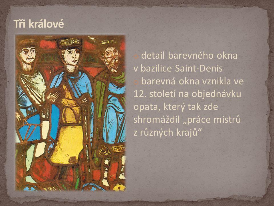 Tři králové detail barevného okna v bazilice Saint-Denis