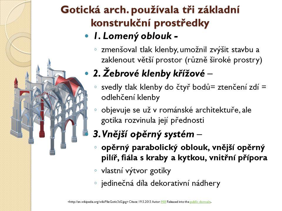 Gotická arch. používala tři základní konstrukční prostředky