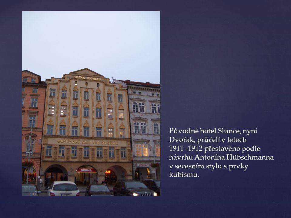 Původně hotel Slunce, nyní Dvořák, průčelí v letech