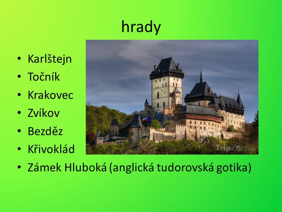 hrady Karlštejn Točník Krakovec Zvíkov Bezděz Křivoklád