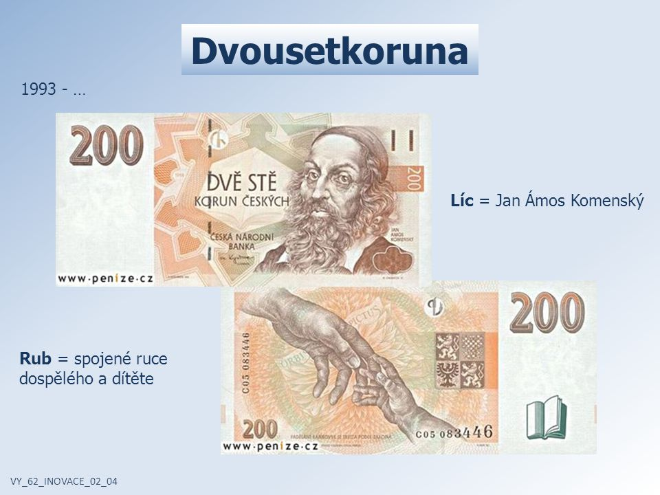 Dvousetkoruna 1993 - … Líc = Jan Ámos Komenský