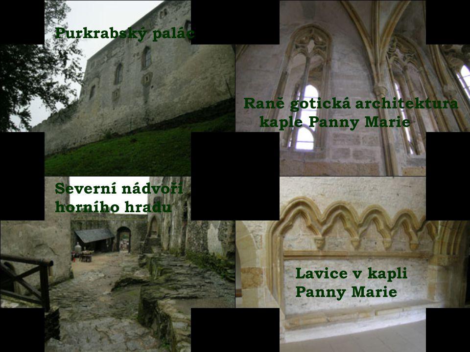 Purkrabský palác Raně gotická architektura. kaple Panny Marie. Severní nádvoří. horního hradu. Lavice v kapli.