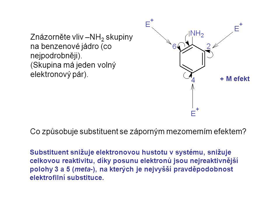 Znázorněte vliv –NH2 skupiny na benzenové jádro (co nejpodrobněji).