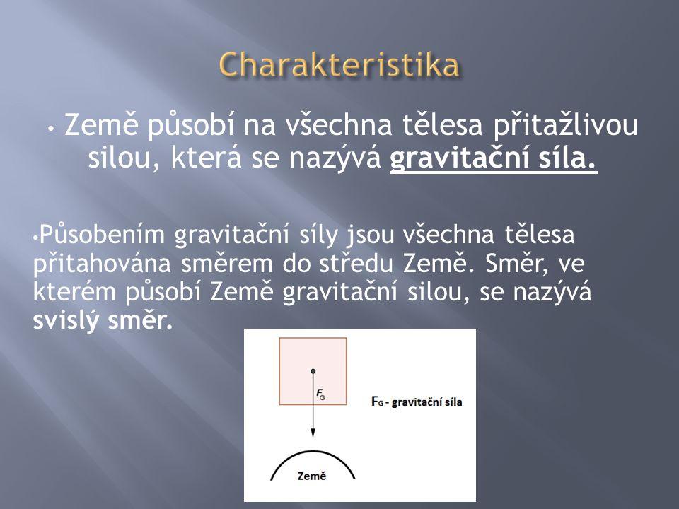 Charakteristika Země působí na všechna tělesa přitažlivou silou, která se nazývá gravitační síla.