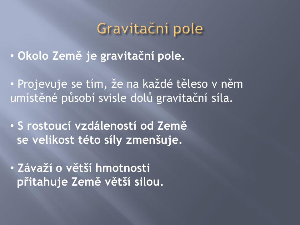 Gravitační pole Okolo Země je gravitační pole.