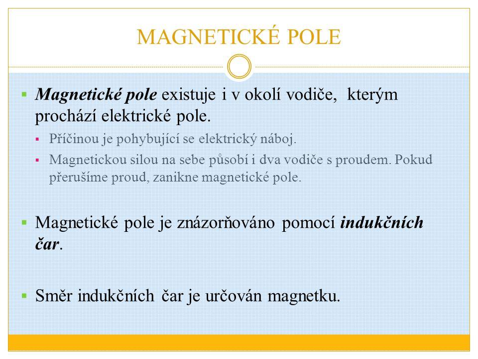 MAGNETICKÉ POLE Magnetické pole existuje i v okolí vodiče, kterým prochází elektrické pole. Příčinou je pohybující se elektrický náboj.