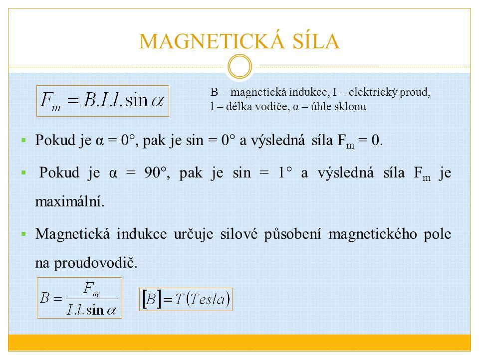 MAGNETICKÁ SÍLA B – magnetická indukce, I – elektrický proud, l – délka vodiče, α – úhle sklonu.