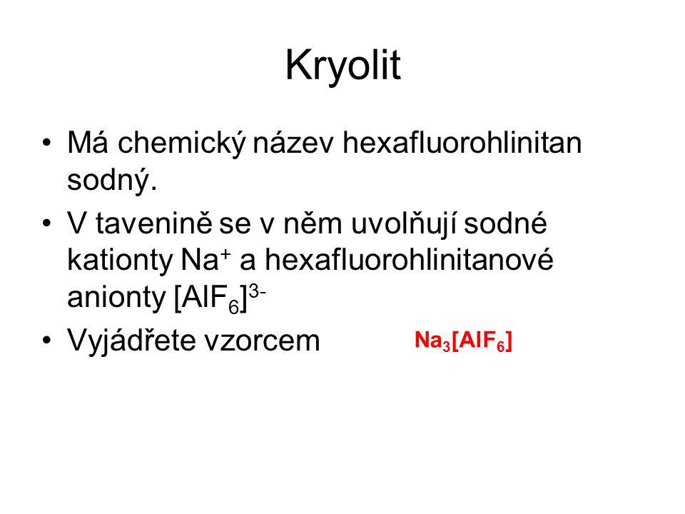 Kryolit Má chemický název hexafluorohlinitan sodný.