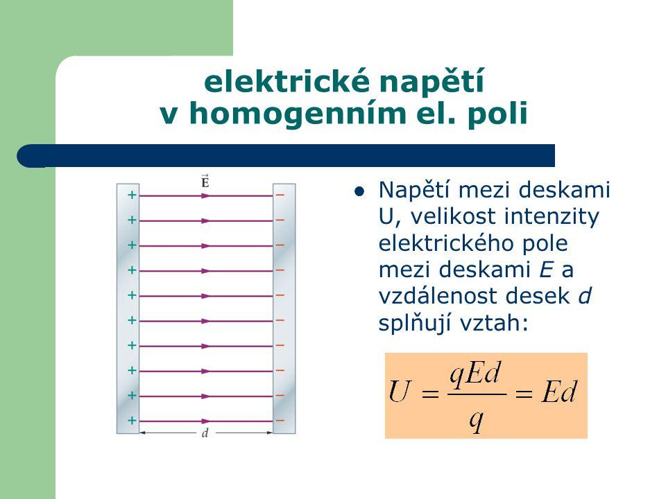 elektrické napětí v homogenním el. poli
