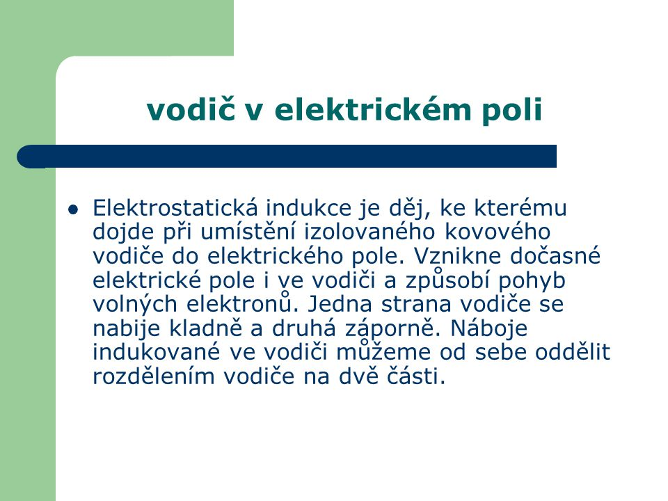 vodič v elektrickém poli