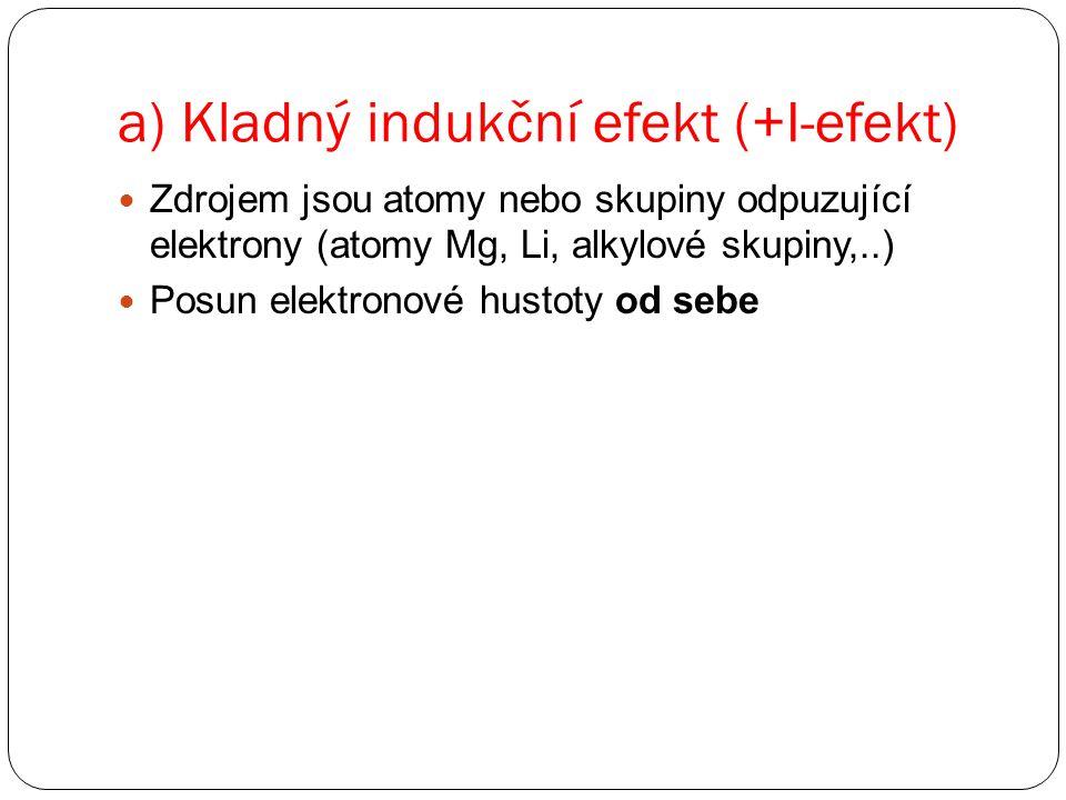 a) Kladný indukční efekt (+I-efekt)