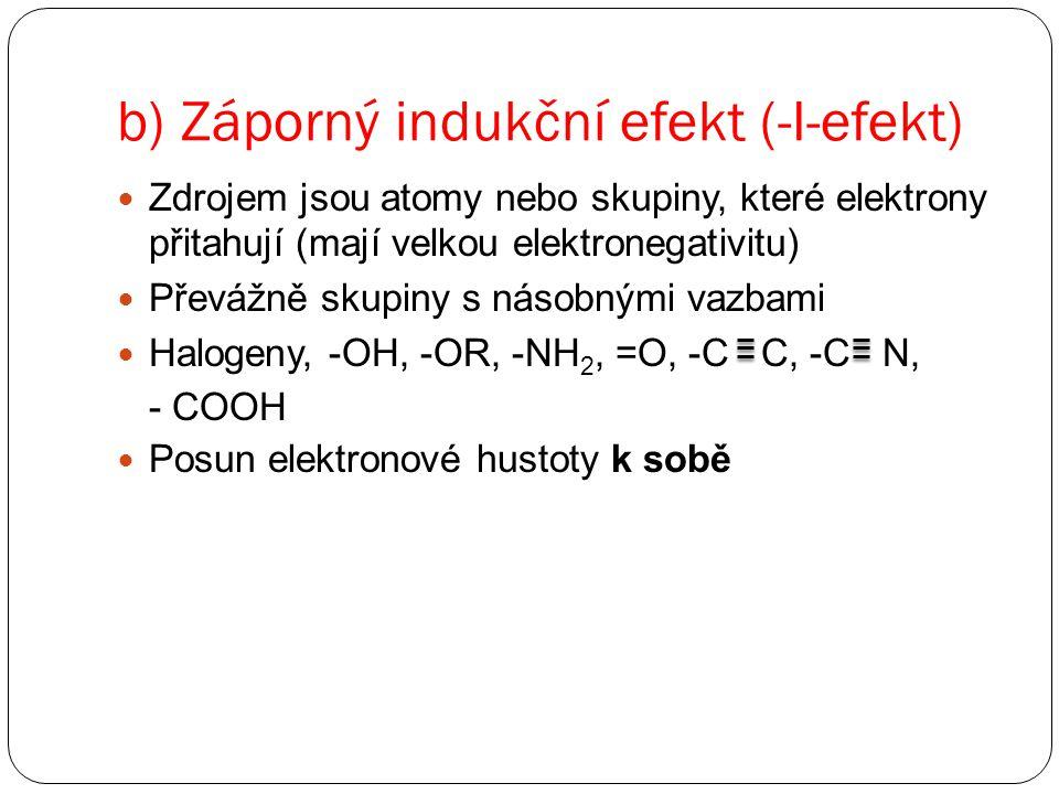 b) Záporný indukční efekt (-I-efekt)