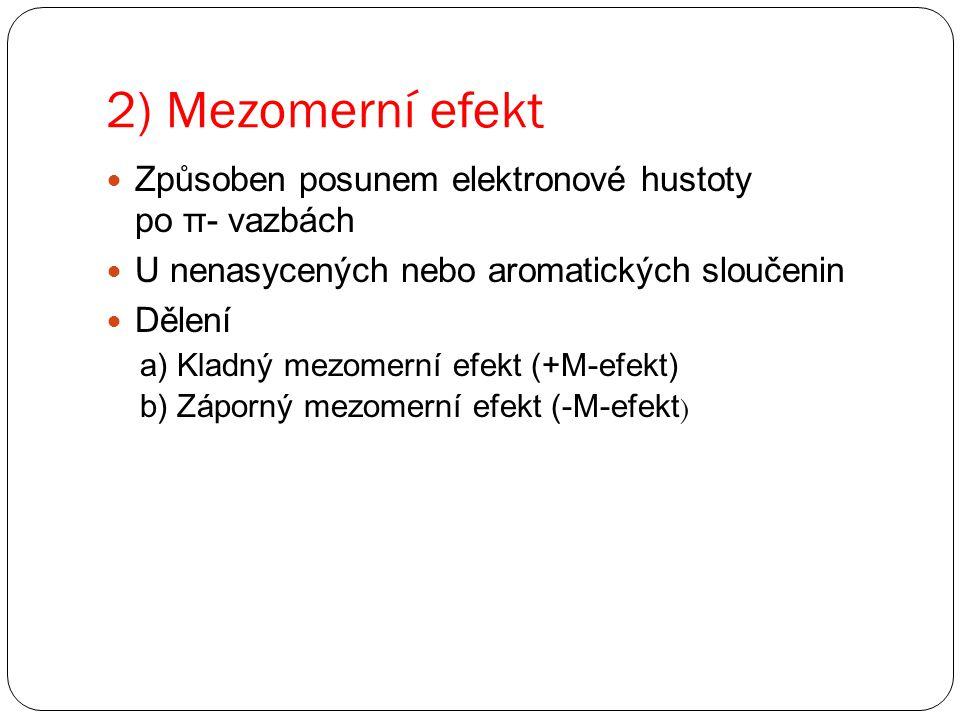 2) Mezomerní efekt Způsoben posunem elektronové hustoty po π- vazbách