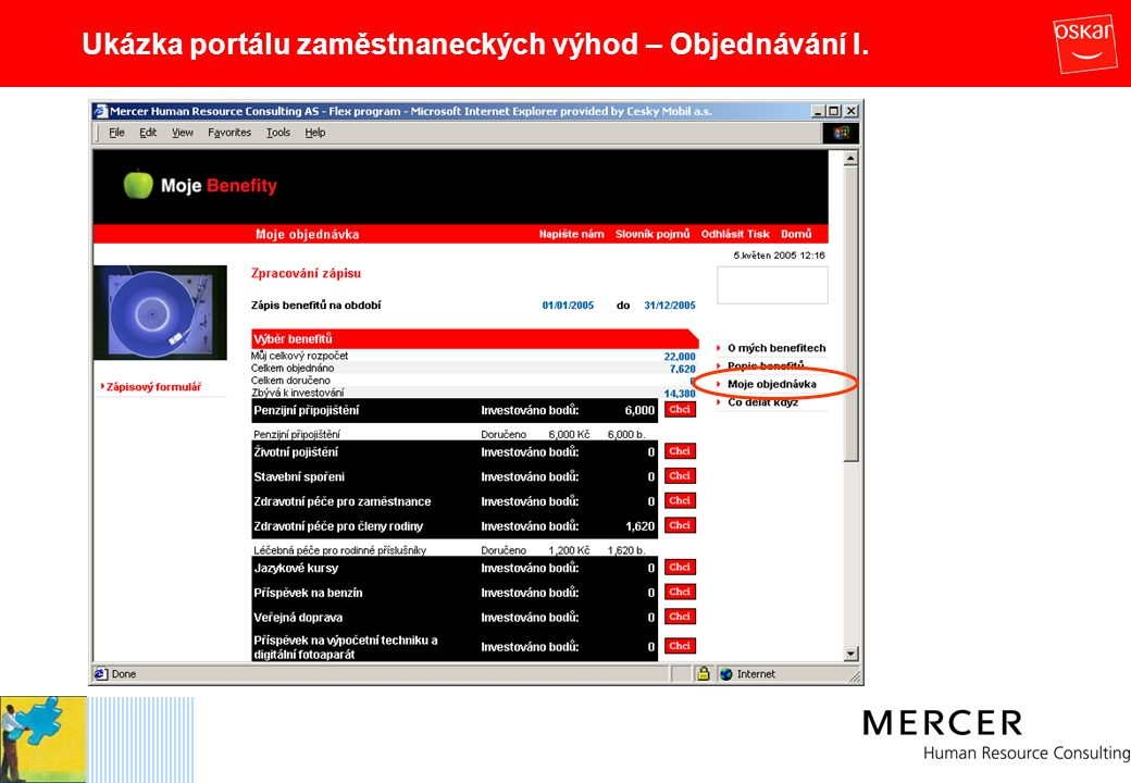Ukázka portálu zaměstnaneckých výhod – Objednávání I.