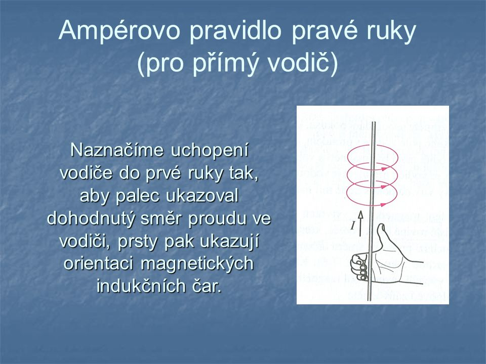 Ampérovo pravidlo pravé ruky (pro přímý vodič)