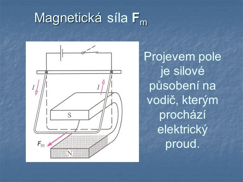 Magnetická síla Fm Projevem pole je silové působení na vodič, kterým prochází elektrický proud.