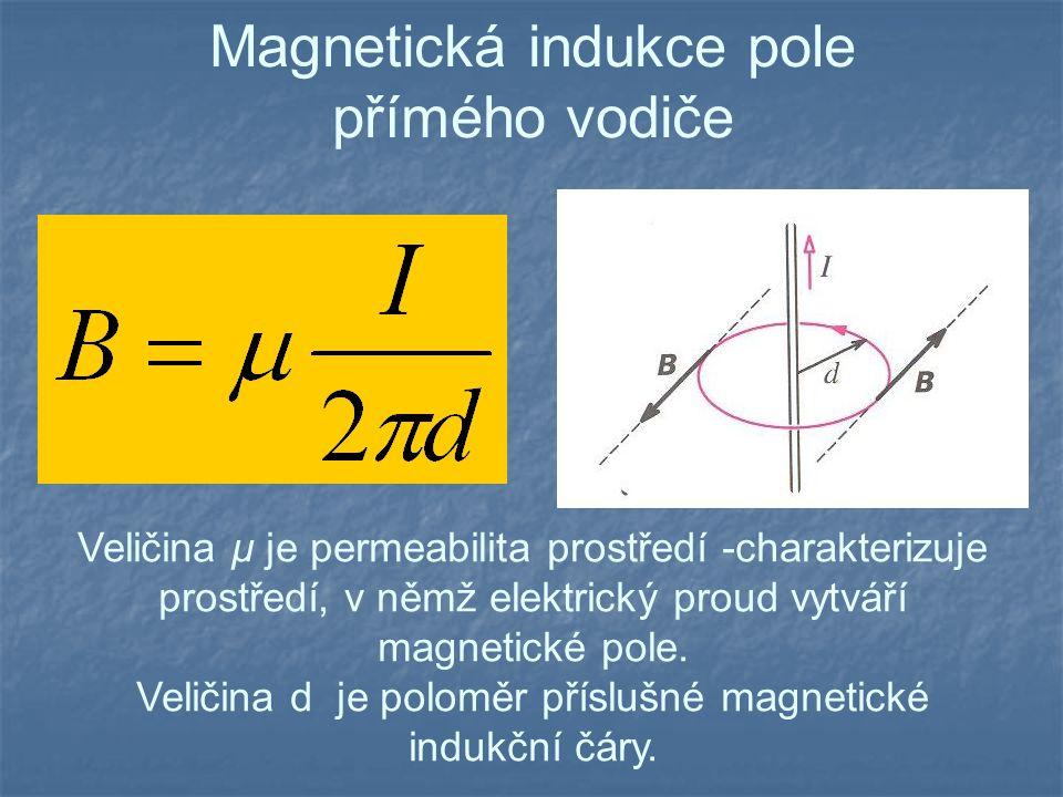 Magnetická indukce pole přímého vodiče