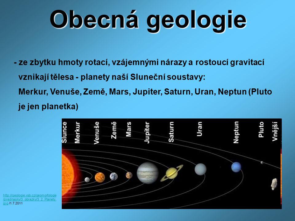 Obecná geologie - ze zbytku hmoty rotací, vzájemnými nárazy a rostoucí gravitací. vznikají tělesa - planety naší Sluneční soustavy: